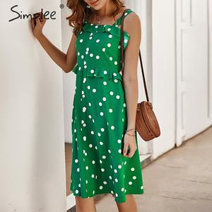 Image 2 - Simplee Polka dot ruffle women holiday dress Spaghetti straps buttons female midi dresses High waist ladies summer vestidos 2020
