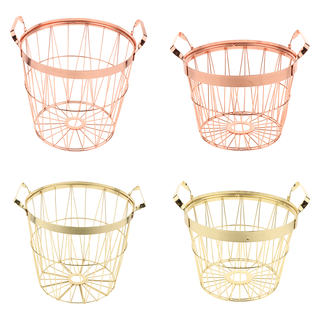 Metal Wire Organizer Storage Bin Baskets, Nordic Style Laundry Hamper With Handles, For Kitchen, Bathroom, Pantry, Laundry Room