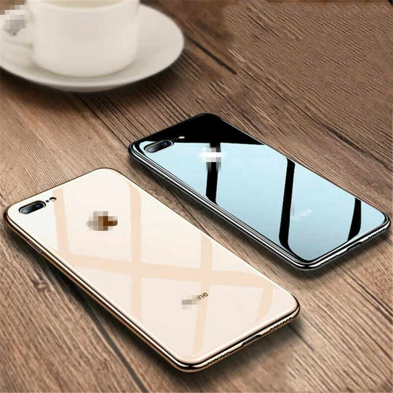 Luxury Glass Case For Apple iphone 6 7 8 Plus X XS XR MAX Cover 7plus 8plus 6G 6S X XS MAX Plating Mirror Glossy Cell Phone Case