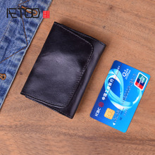 AETOO Genuine Leather Wallet Men Cowhide Vintage Casual Handmade Short Wallets Purse Small Clutch Bag Clutches For male