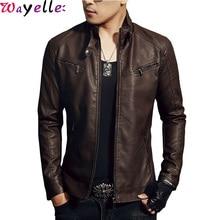 купить Leather Jackets Men Autumn Winter Solid Slim Stand Collar Zipper Fashion Motorcycle Biker Leather Jacket Coat Mens Bomber Jacket дешево