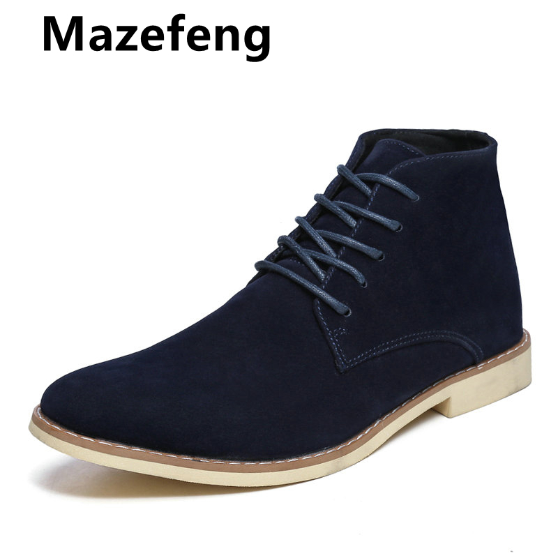 Mazefeng Brand Men Ankle Boots Fashion Chelsea Boots Daily Comfortable Shoes Black Classic Boots Men Work Footwear Botas Hombre
