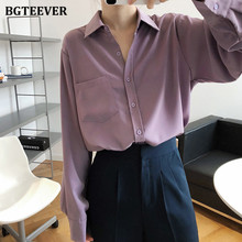 BGTEEVER Vintage fioletowe koszule bluzki damskie jesień skręcić w dół kołnierz jednorzędowe koszule z długim rękawem bluzki damskie Blusas 2020 tanie tanio COTTON Poliester REGULAR Osób w wieku 18-35 lat WOMEN Przycisk Pełna Suknem Stałe BY952 Female women shirts