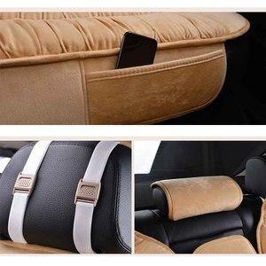 Image 5 - Sıcak arka araba klozet kapağı evrensel kış peluş yastık taklit kürk malzeme araba için koltuk koruyucusu Mat araba iç aksesuarları