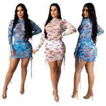 Сексуальное прозрачное платье с длинным рукавом женское облегающее