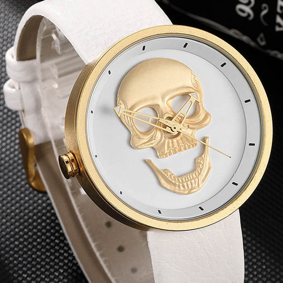 3D Skull Head Watch Men Women Stainless Steel Unisex Black White Gold Steampunk Watches Ladies Reloj Male Sculpture Clock Mexico