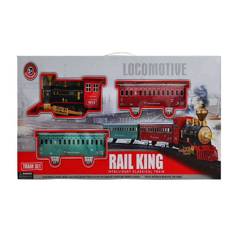 Steam Big Train Children Classical Model Train Camera Track Toy Smoke Light Music Electric Toys Wholesale