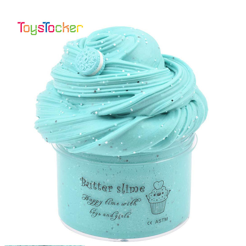 Cartoon DIY Slime Fluffy Polymer Clay Biscuits Charms Supplies Soft Air Slime Bead Plasticine Putty Sand Goo Antistress Kids Toy