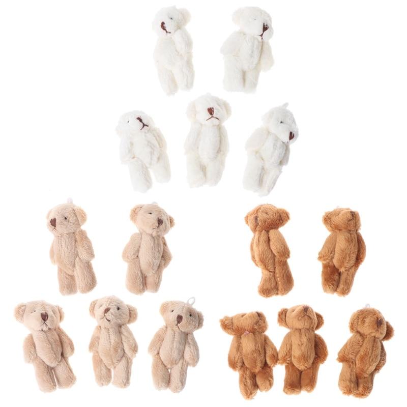 5PCS Kawaii Small Bears Plush Soft Toys Pearl Velvet Dolls Gifts Mini Bear