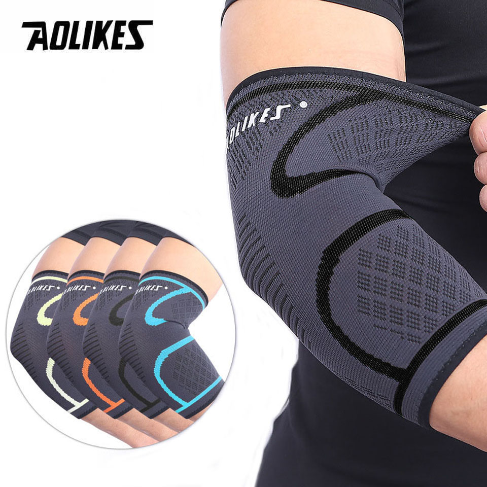 Aolikes 1 pçs cotovelo suporte elástico ginásio esporte cotovelo almofada de proteção absorver suor esporte basquete braço manga cotovelo cinta