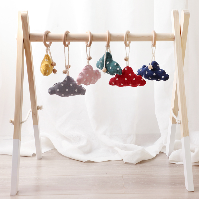 Baby Wooden Rattle Cotton Filling Infant Bed Bell Children's Room Decoration Toys Cloud Hanging Play Gym Soft Baby Wooden Rattle