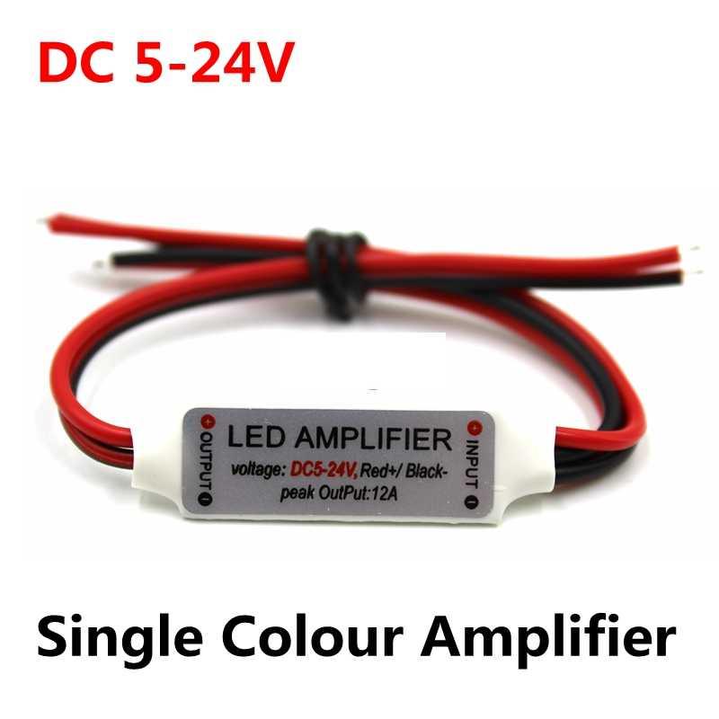 DC 5V-12V-24V 12A ミニ単色 Led アンプリピータ LED ストリップライト 5050/2835/3528//5630/3014