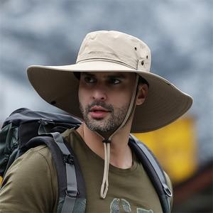 2020 New Fashion Summer Bucket Hat Cowboy Men Outdoor Fishing Hiking Beach Hats Mesh Breathable Anti UV Sun Cap Large Wide Brim