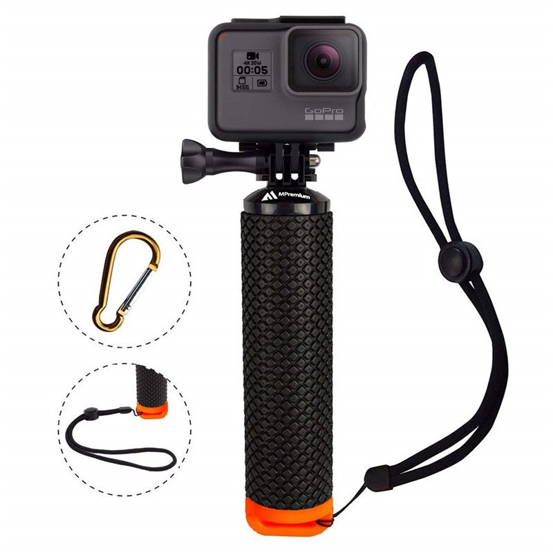 Waterproof Floating Hand Grip For Gopro Hero 8 7 6 5 Xiaomi Action Camera Kit with wrist strap Carabiner For Water Sport Camera-0