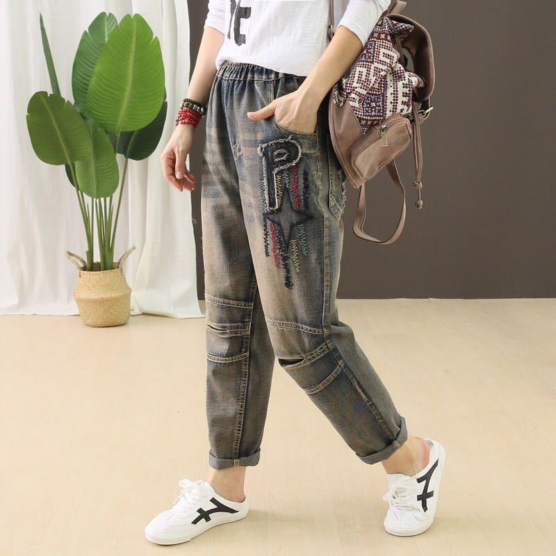 Fall Spring Ladies Jeans Retro Elastic Waist Lace Up Cotton Pants New Stars Embroidery Scratched Casual Denim Trousers