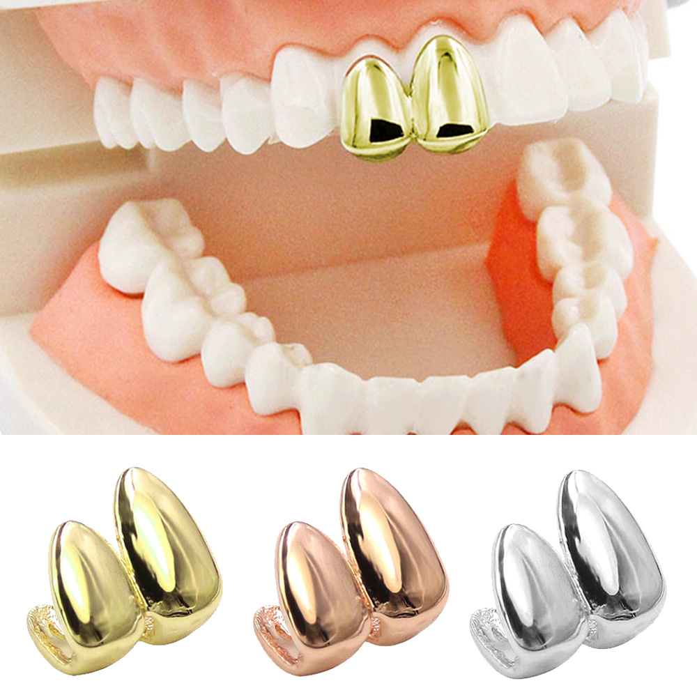 Besegad Gold Silver Rose Gold Plated Vampire Top False Canine Teeth Caps Tooth Grill Denture Cap Teeth Halloween Toy