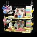 Hamster bebê gaiola acrílica de ouro, urso, camada dupla, grande, transparente, vila, suprimentos, brinquedos
