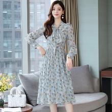 Bowtie Chiffon Floral Dress Korean Style Ruffle Pleated Long Sleeve Dress Women Fresh Sweet S-XXL Blue Ladies Dresses Elegant nine west women s floral stripe pleated dress