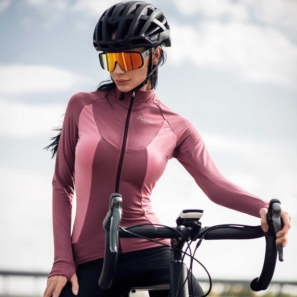 Santic רכיבה על אופניים ג 'רזי סתיו חורף צמר תרמית ארוך שרוול MTB כביש אופני ג' רזי נשים אופניים ג 'רזי בגדים