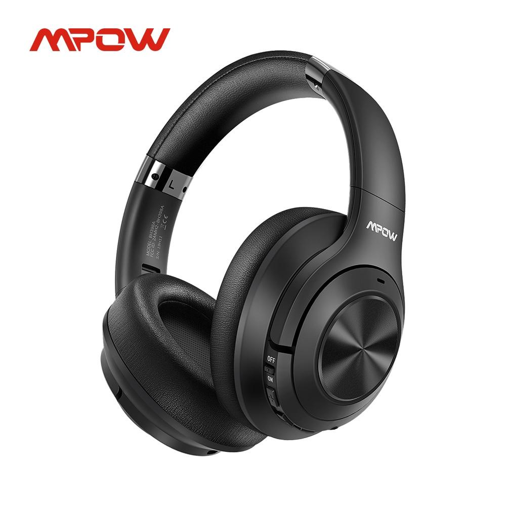 Mpow H21 гибридная гарнитура с активным шумоподавлением, беспроводные Bluetooth 5,0, музыкальные наушники 40 часов воспроизведения CVC 6,0, микрофон для ...