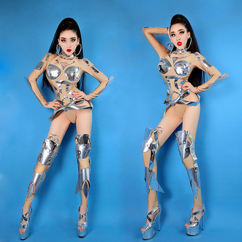 Bar Ds Costumes New Sexy Personality Dj Female Singer Nightclub Color Collar Dance Clothes Dress Performance Costume 2020