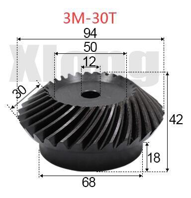 3M-30Teeths Inner Hole: 12mm Precision Spiral Bevel Gear Spiral Bevel Gear 1.29G