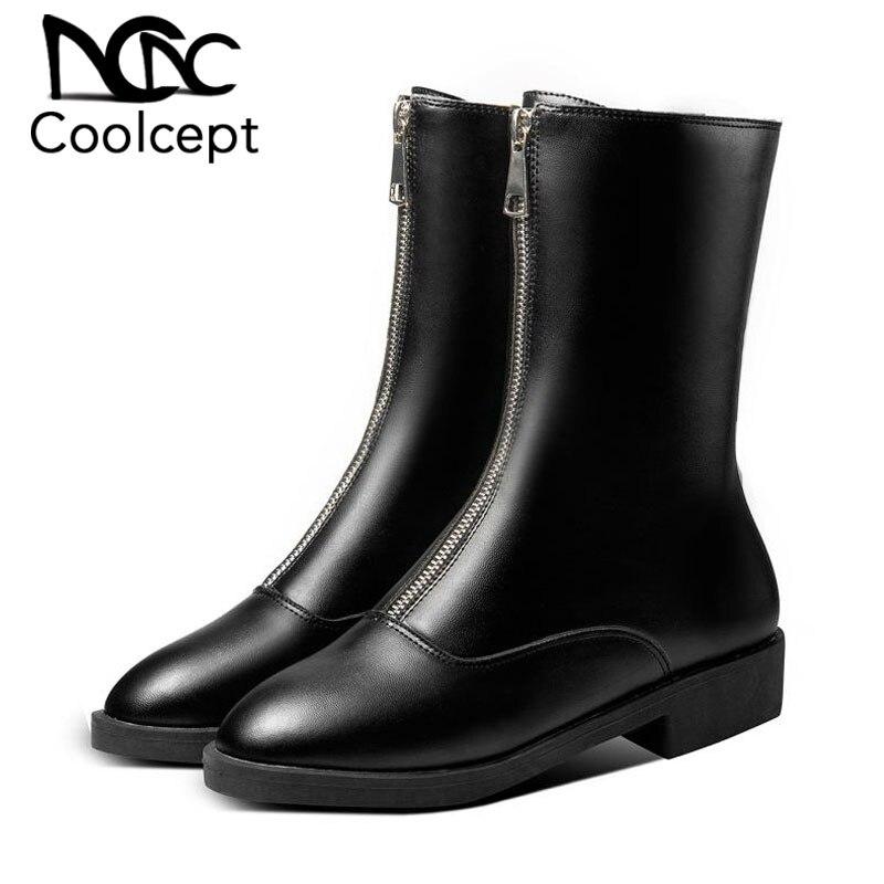 Coolcept Straight Boots Flats Mature-Shoes Fur Sexy Plus-Size Winter Women Warm Zipper