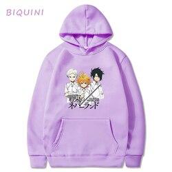 Promised Neverland Hoodies Sweat Capuche Harajuku Japanese Anime Hoodies Streetwear Emma Norman Ray Graphic Hooded Toppies