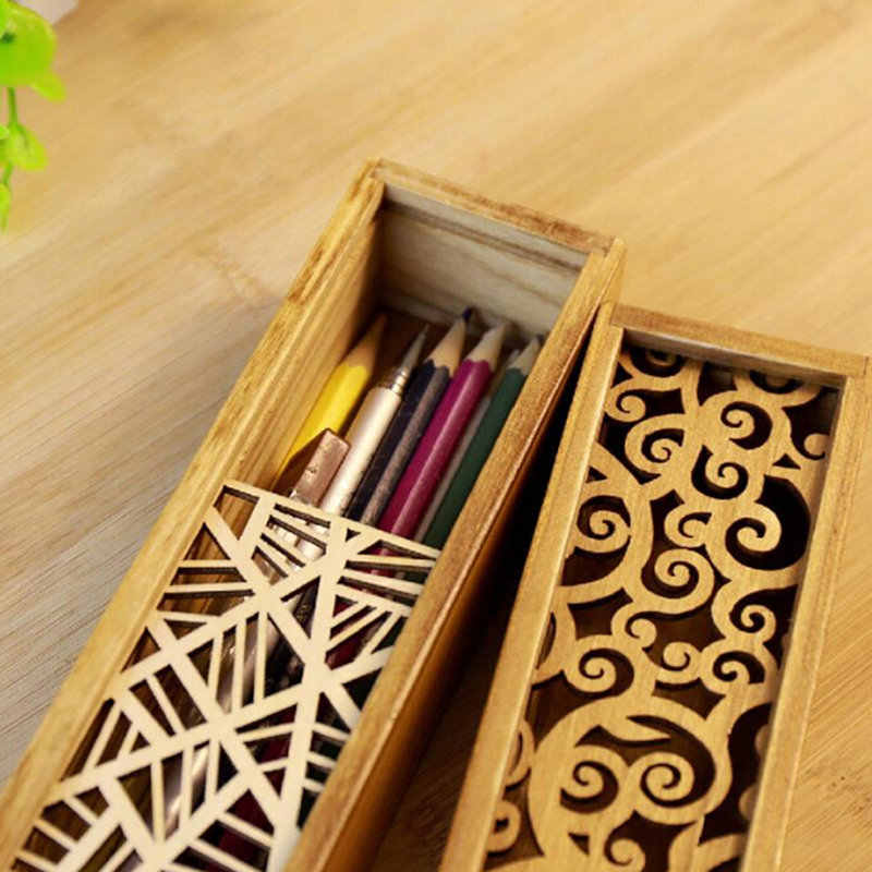 Retro Diukir Kotak Kayu Pensil Case Penyimpanan Kotak Siswa Lucu Pensil Kayu Box Multi Alat Tulis Meja Penyimpanan Aksesoris