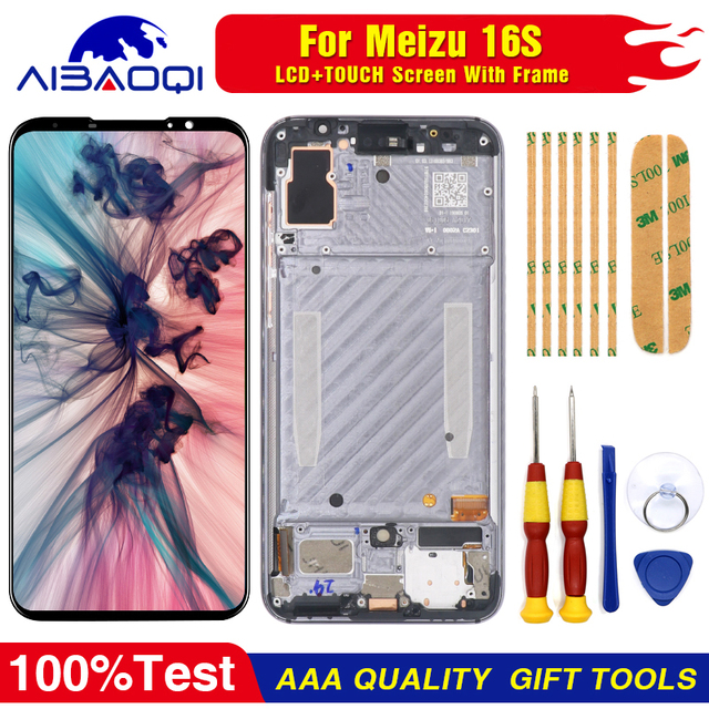"""AiBaoQi Original For 6.0"""" Meizu 16S 16 S LCD Display Screen+Touch Panel Digitizer For Meizu 16S AMOLED LCD Display with frame"""