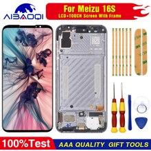 "AiBaoQi Originale Per 6.0 ""Meizu 16 S 16 S Display LCD Screen + Touch Panel Digitizer Per Meizu 16 S AMOLED Display LCD con cornice"