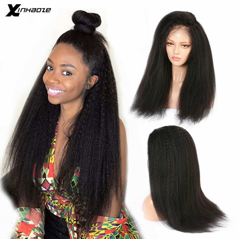 150% Brazilian Kinky Straight Wigs with Baby Hair Remy 13x4 Pre Plucked Yaki Lace Front Human Hair Wig For Black Women