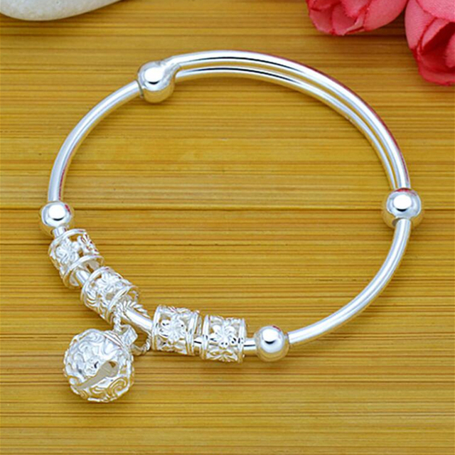 Fashion Silver 925 Sterling Silver Charm Stone Bangle Cuff Bracelet Ball Bell Pendants Women Jewelry Gift 3