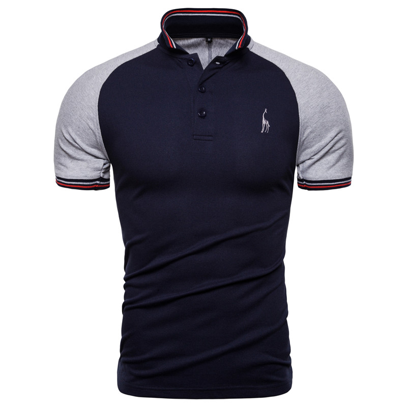 NEGIZBER 2019 Brand Quality Men's Polo Solid Patchwork Slim Fit Polos Men Casual Giraffe Embroidery Polo Shirt Men