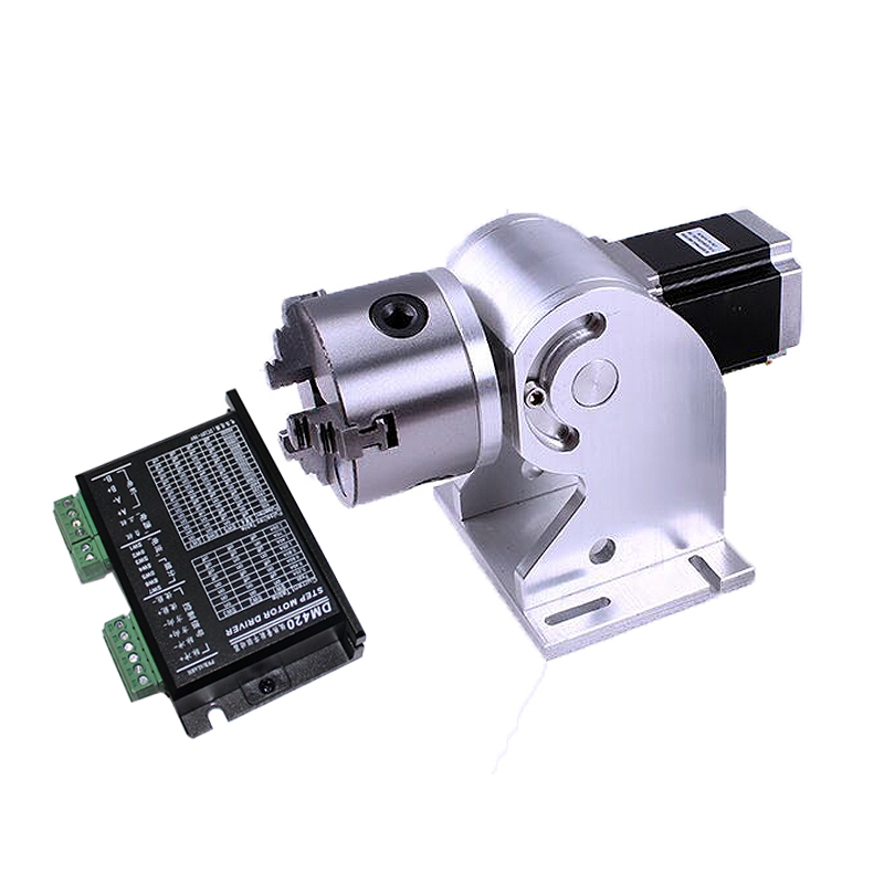 3 Claws Rotary Axis 80mm Max For Fiber Laser Nameplate Marking Machine Fiber Laser Metal Engraving Machine Use With Drive Board