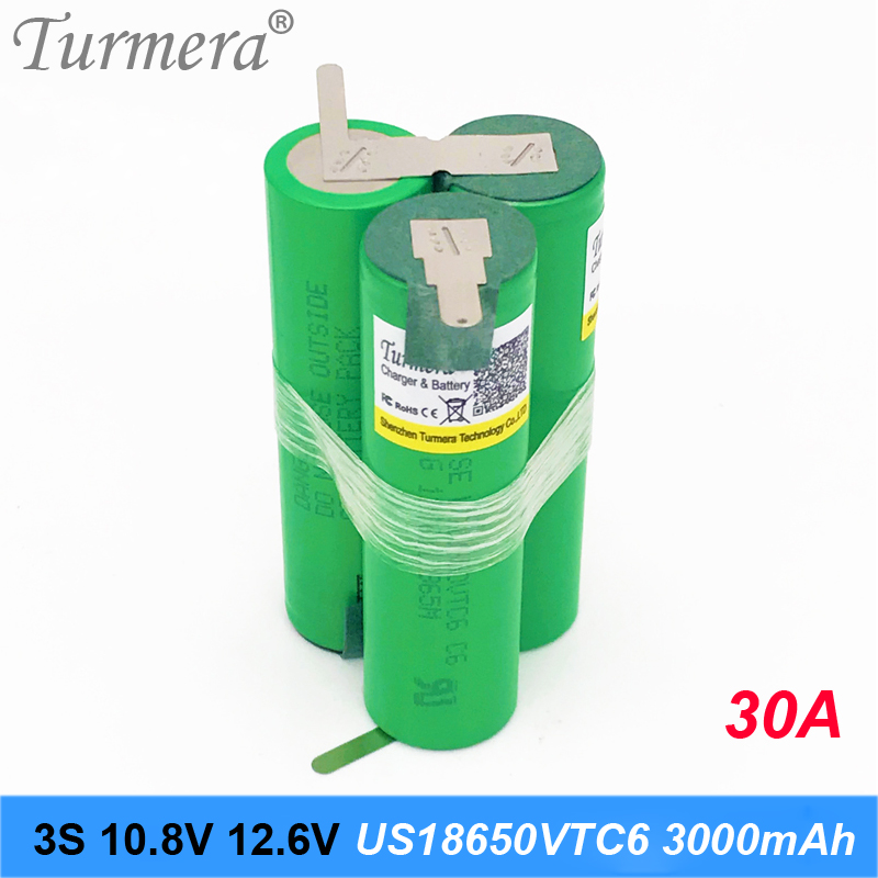 Battery pack 3S 12.6V 4S 16.8V 5S 21V 6S 25V Battery Pack US18650VTC6 3000mah Battery 30A for Shurika Screwdriver Battery new image