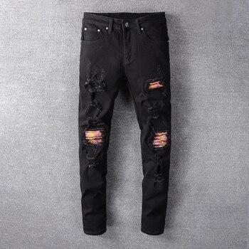 Fashion Streetwear Men Jeans Black Color Destroyed Ripped Jeans Patchwork Designer Baggy Pants Elastic Hip Hop Skinny Jeans Men zips embellished destroyed jeans
