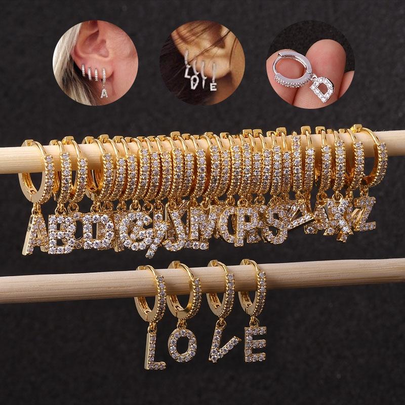 Chissen 1PC 26 English Letters Zircon Ear Piercing Earring For Women Initial Ear Buckle Creative Joker Earring Cartilage Jewelry