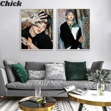 Canvas Painting Poster Wall-Stickers Living-Room Home-Decor Korean Boys Kpop Bangtan