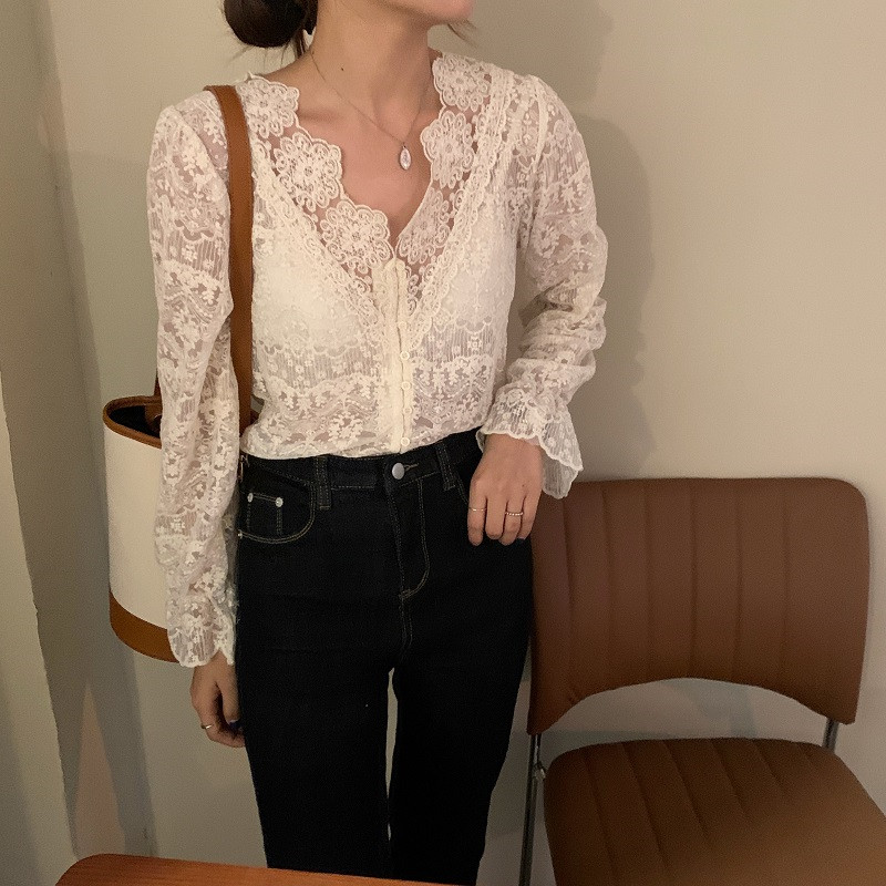 H28bcd1a0020f486b88766b1ae4dbabb7z - Spring / Autumn V-Neck Long Sleeves Floral Lace Blouse