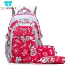 Kwiatowe plecaki dla dziewczyn torby szkolne dla dziewczynek zestaw dla dzieci torby szkolne plecak dziecięcy plecaki dziecięce plecaki szkolne tanie tanio SUN EIGHT Poliester zipper B4381 Floral 32cm Dziewczyny 18cm Nylon 44cm 0 8kg 44*32*18cm 40*30*16cm Black Rose Pink