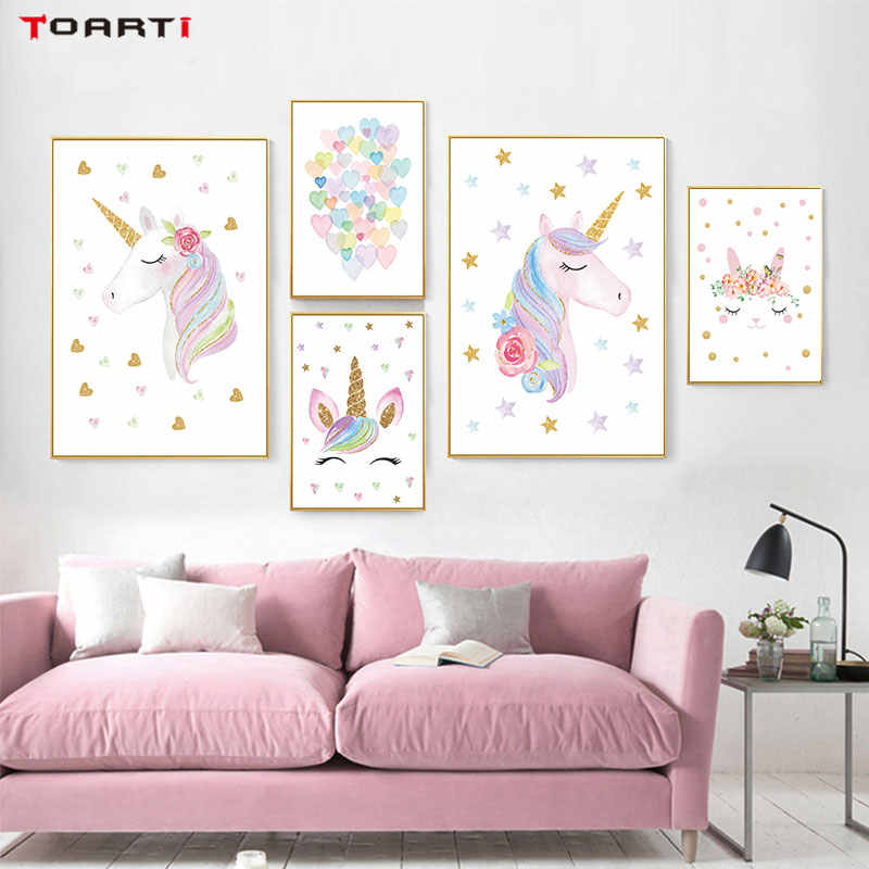 Cartoon Unicorn Prints Posters Colorful Rainbow Heart Canvas Painting Stars Wall Pictures For Kids Nursery Bedroom Home Decor
