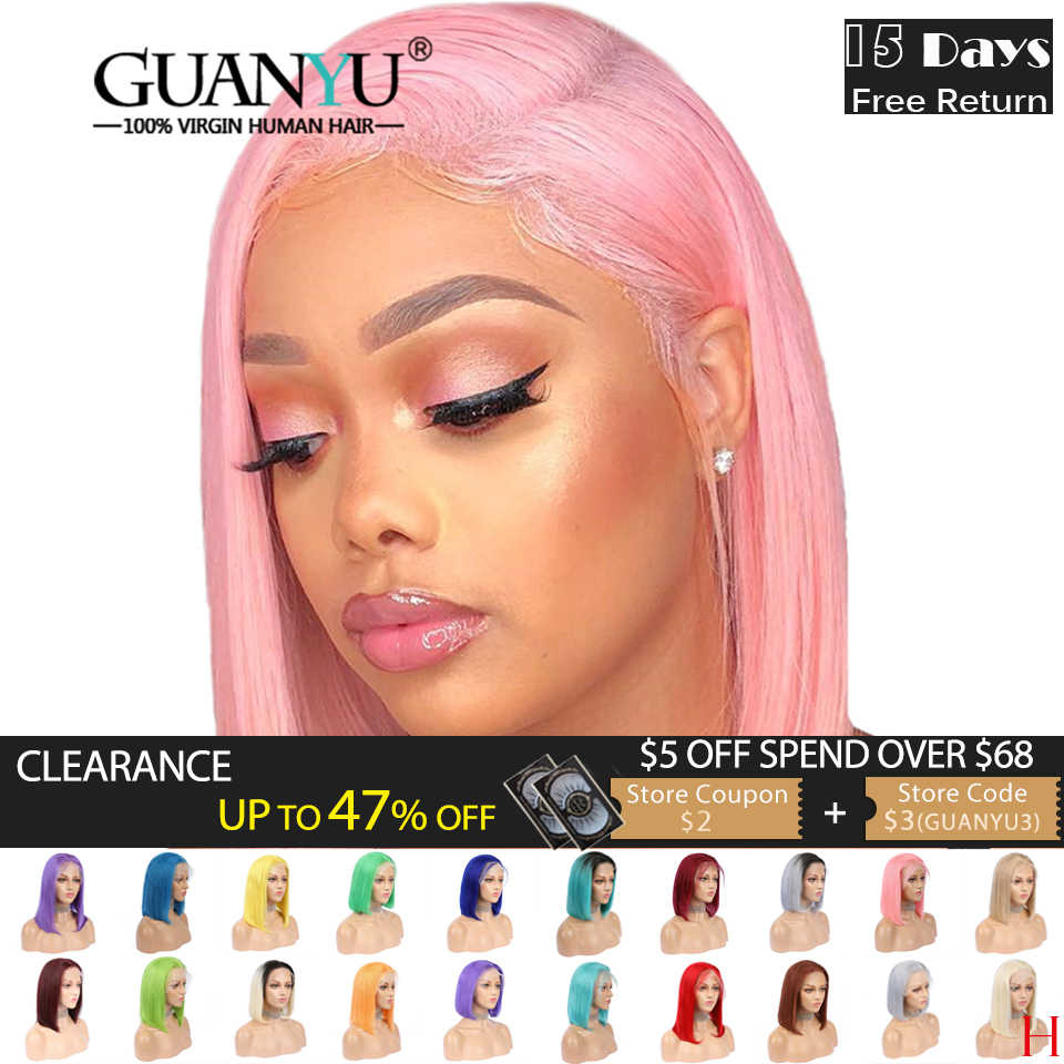 Pink Bob Lace Front Wigs Human Hair 13X4 Pre Plucked 613 Blonde Blue Red Grey Green Ombre Short Bob Wigs For Black Women Remy