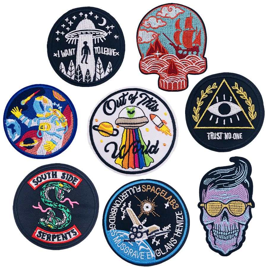 1pcs NEW UFO Series Pattern Embroidery DIY Clothing Fasteners patches for Hot paste Skeletal flying saucer Badge