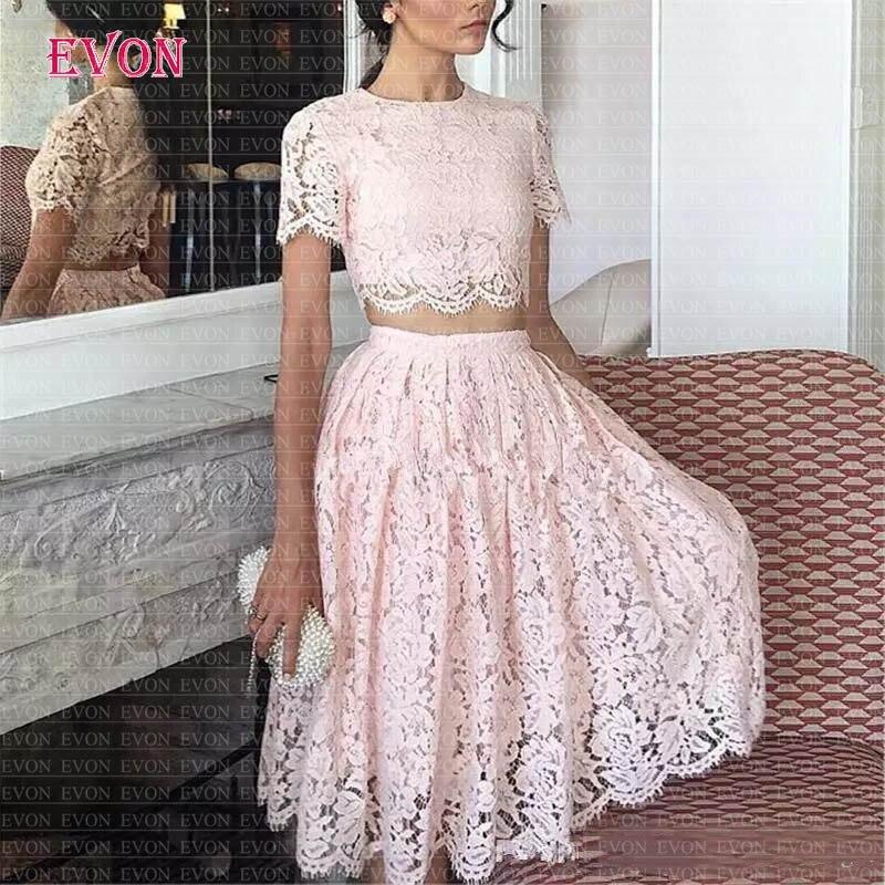 Robes De Gala Vintage dentelle robes De bal 2020 rose deux pièces manches courtes robes De bal genou longueur formelle soirée robe