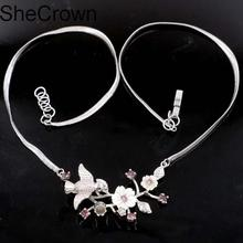 New Arrival Songbird Purple Amethyst Freshwater Shell Ladies Party Silver Necklace 18-18.5in 55x27mm