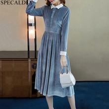 Winter Velvet Dress Women Long Sleeve Elegant Casual Shirt Dress High Quality De