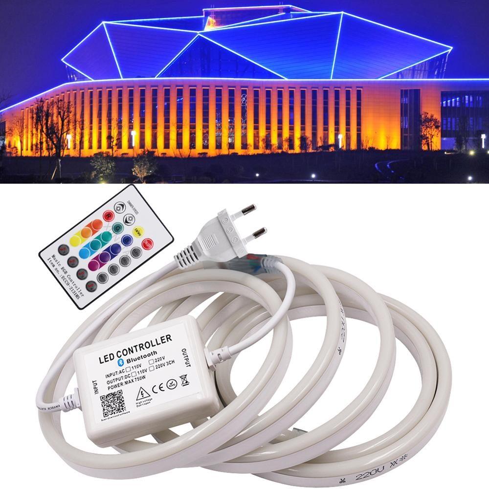 220V RGB Music LED Neon Strip Rope Light 1m 5m 10m 50m 100m Outdoor Waterproof Flexible LED Neon Lamp For Holiday Decoration