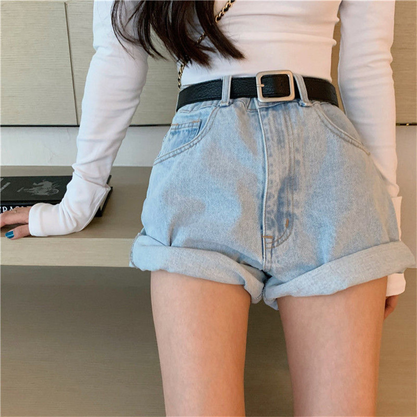 Vintage High Waist Denim Shorts Women 2020 Summer Korean Style Casual Roll Up Shorts Jeans Hot Short Pants