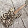 Nuevo cráneo negro tallado cuerpo 6 cuerdas guitarra eléctrica, guitarra mástil palisandro, color negro mate guitarra